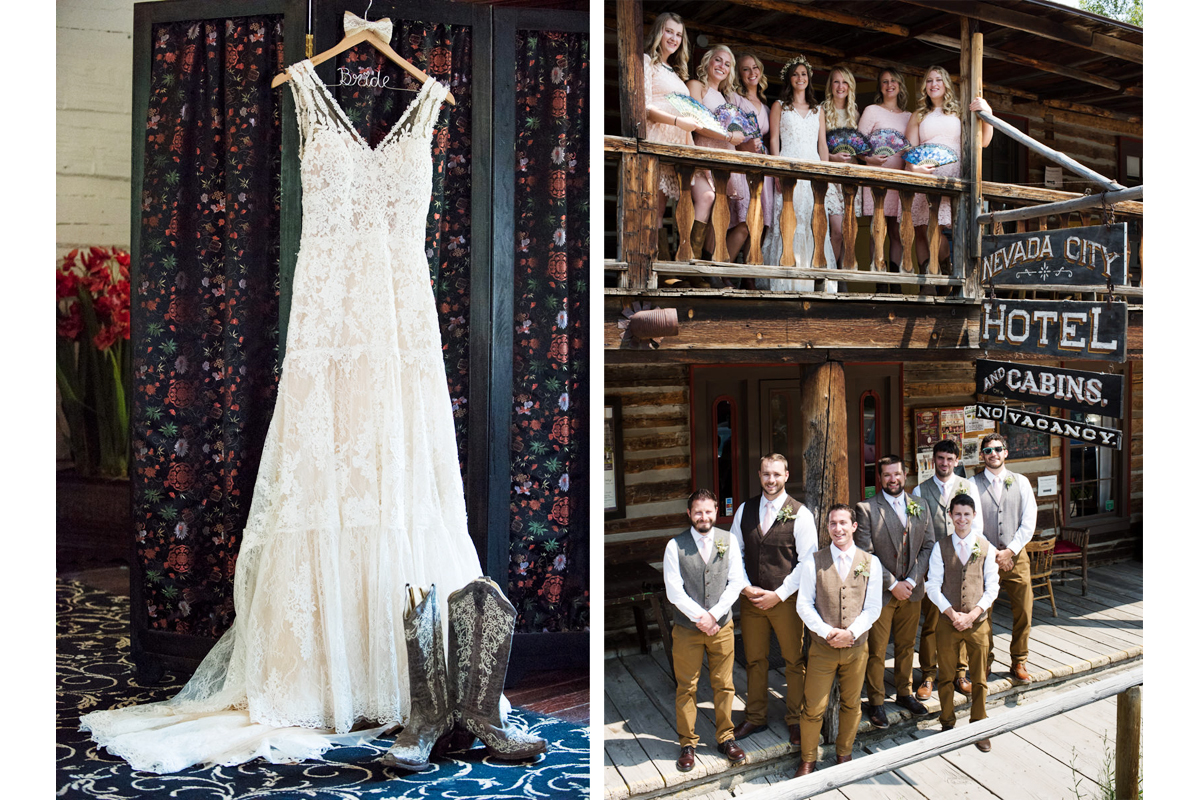Virginia City Montana wedding day bridal party