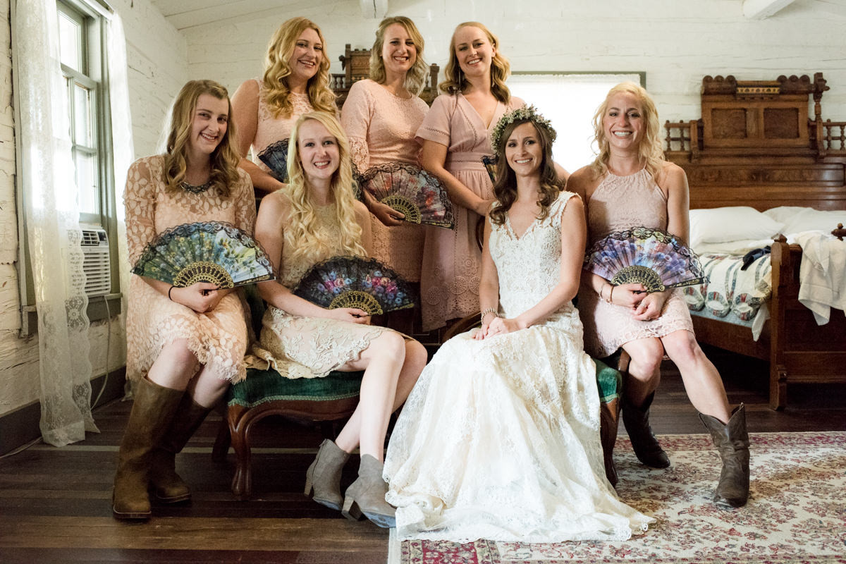 Virginia City Montana wedding day bride with bridesmaids