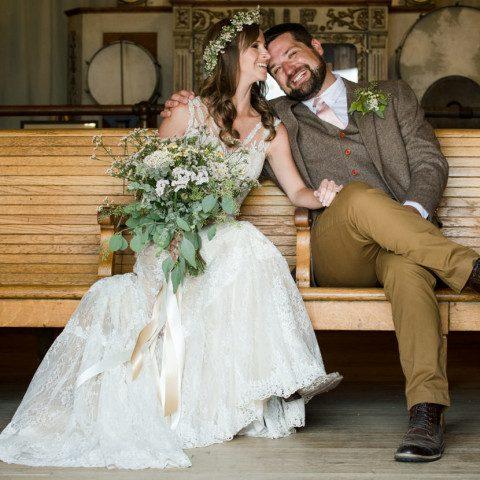 Virginia City Montana wedding day bride and groom train station