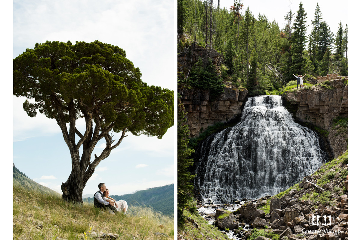 Yellowstone National Park Wedding Day waterfalls portrait