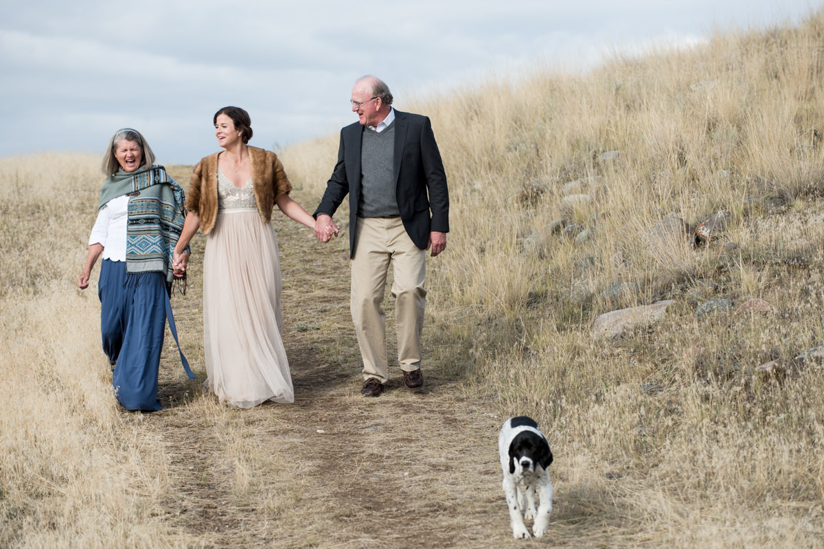 Paradise Valley Montana Wedding bride walk with parents