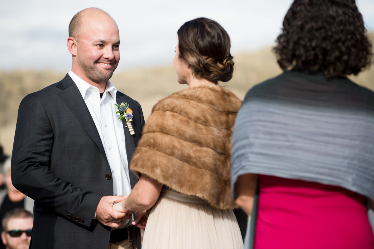 Paradise Valley Montana Wedding ceremony groom yellowstone river