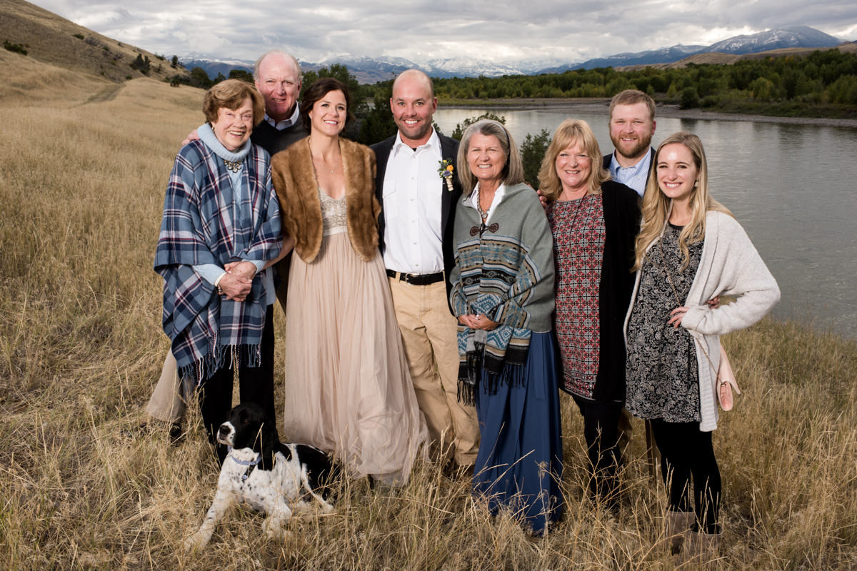 Paradise Valley Montana Wedding family portrait