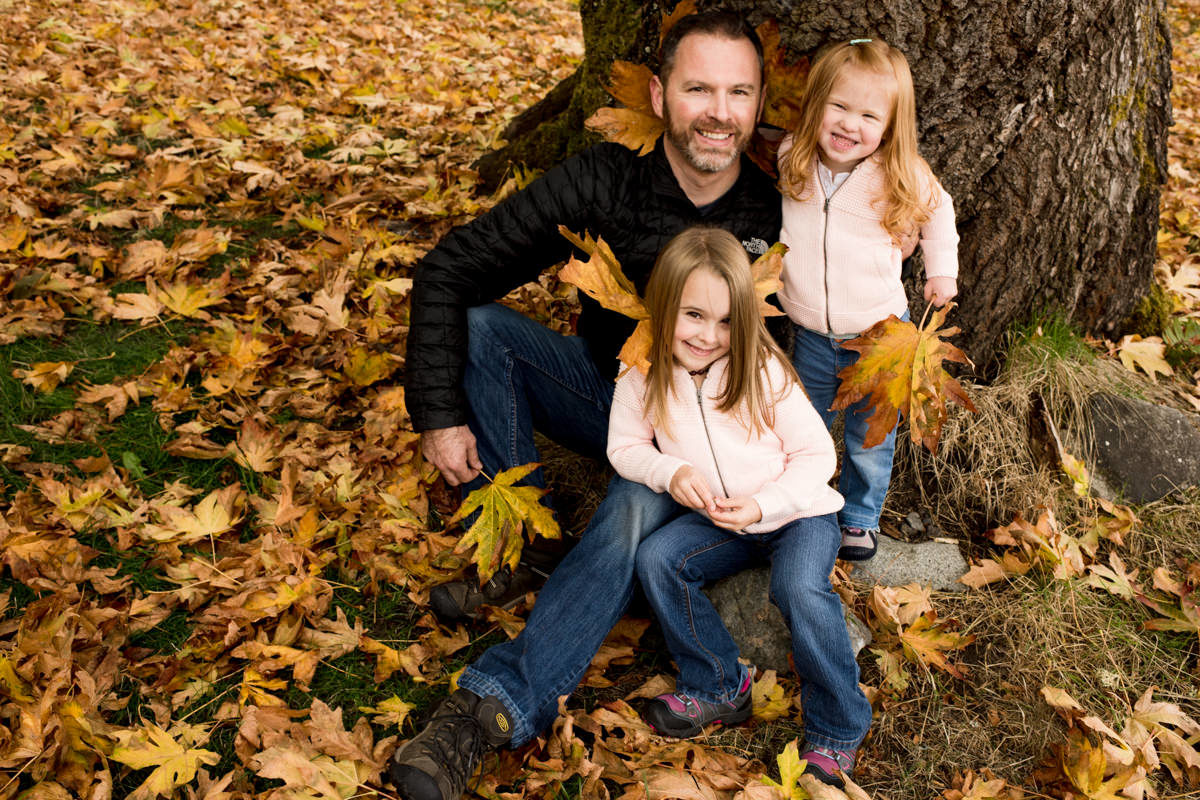 Bellingham Washington Family Portrait Session Fall Leaves