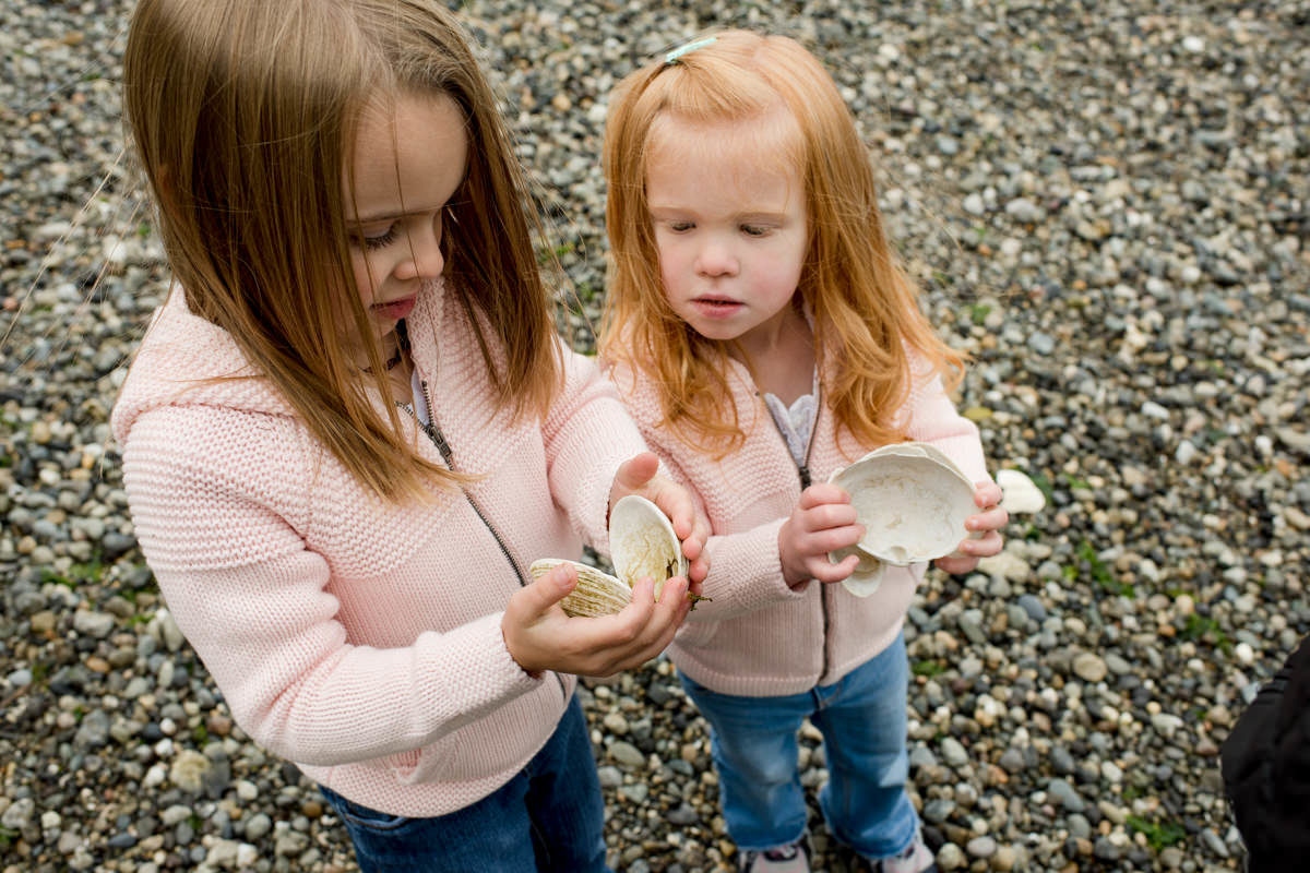 Bellingham Washington Family Portrait Beach sisters