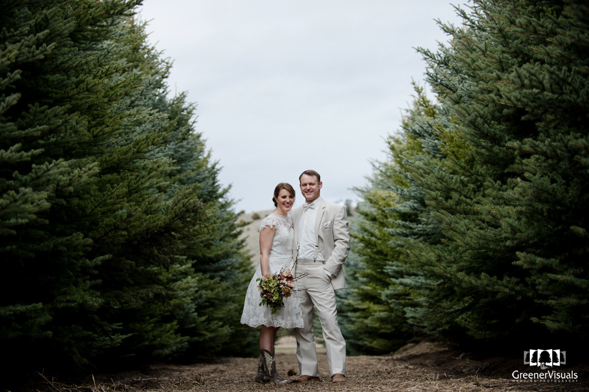 Rocky Creek Farm Wedding Couple Pine Trees