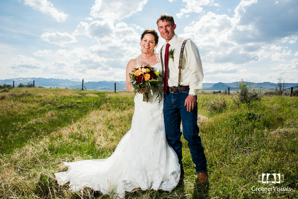 Ennis Montana Wedding Couple Portrait Sunny Field