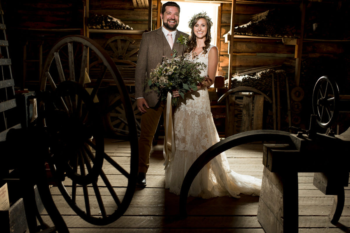Virginia City Wedding Couple portrait Barn tools