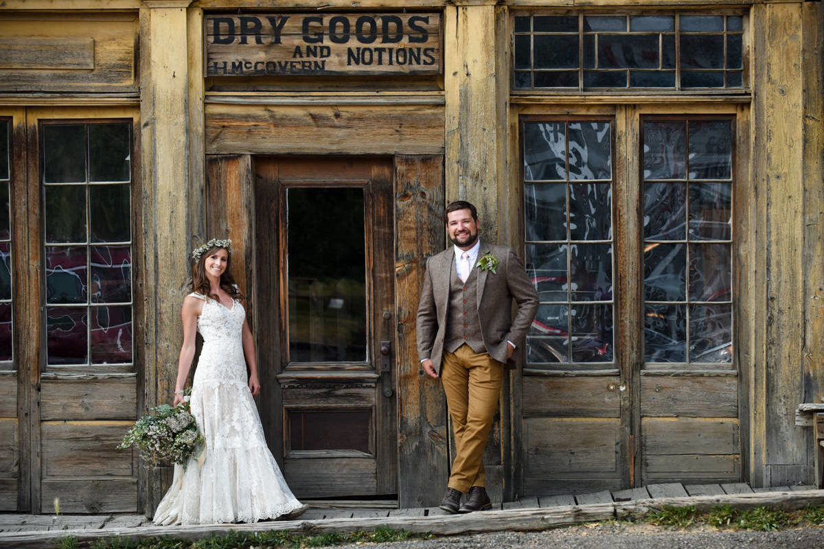 Virginia City Bride Groom Portrait Downtown