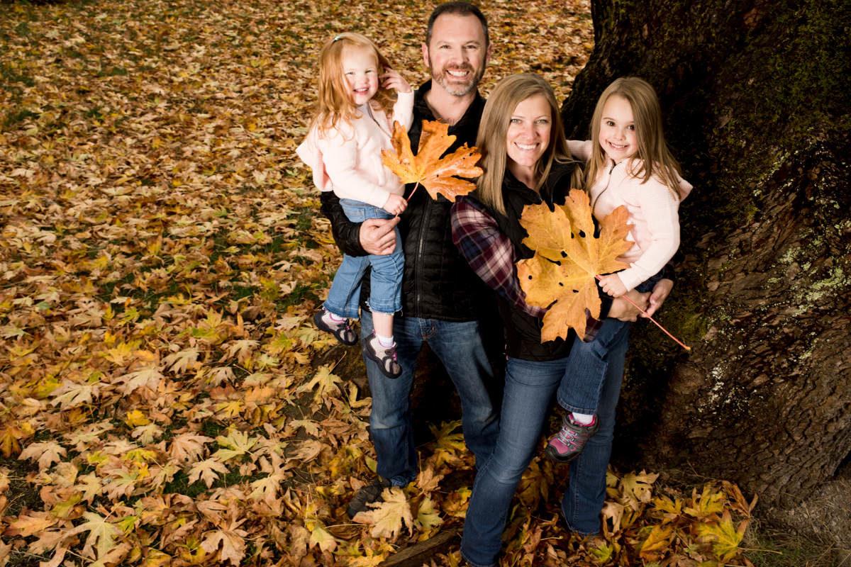 Bellingham Washington Family Portrait Fall Kids Leaves