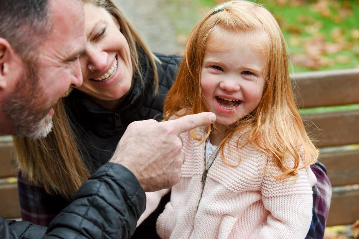 redhead girl smile through tears portrait
