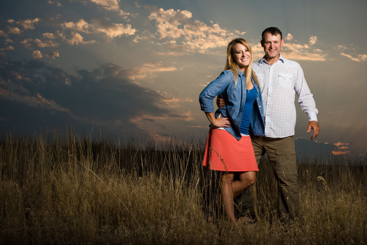 Madison River Engagement Portrait Couple Sunset