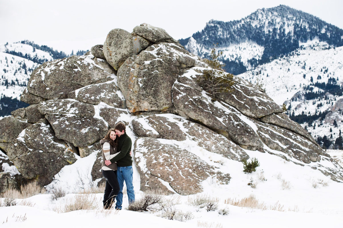 Madison River Mountains Couple Engagement Portrait Winter