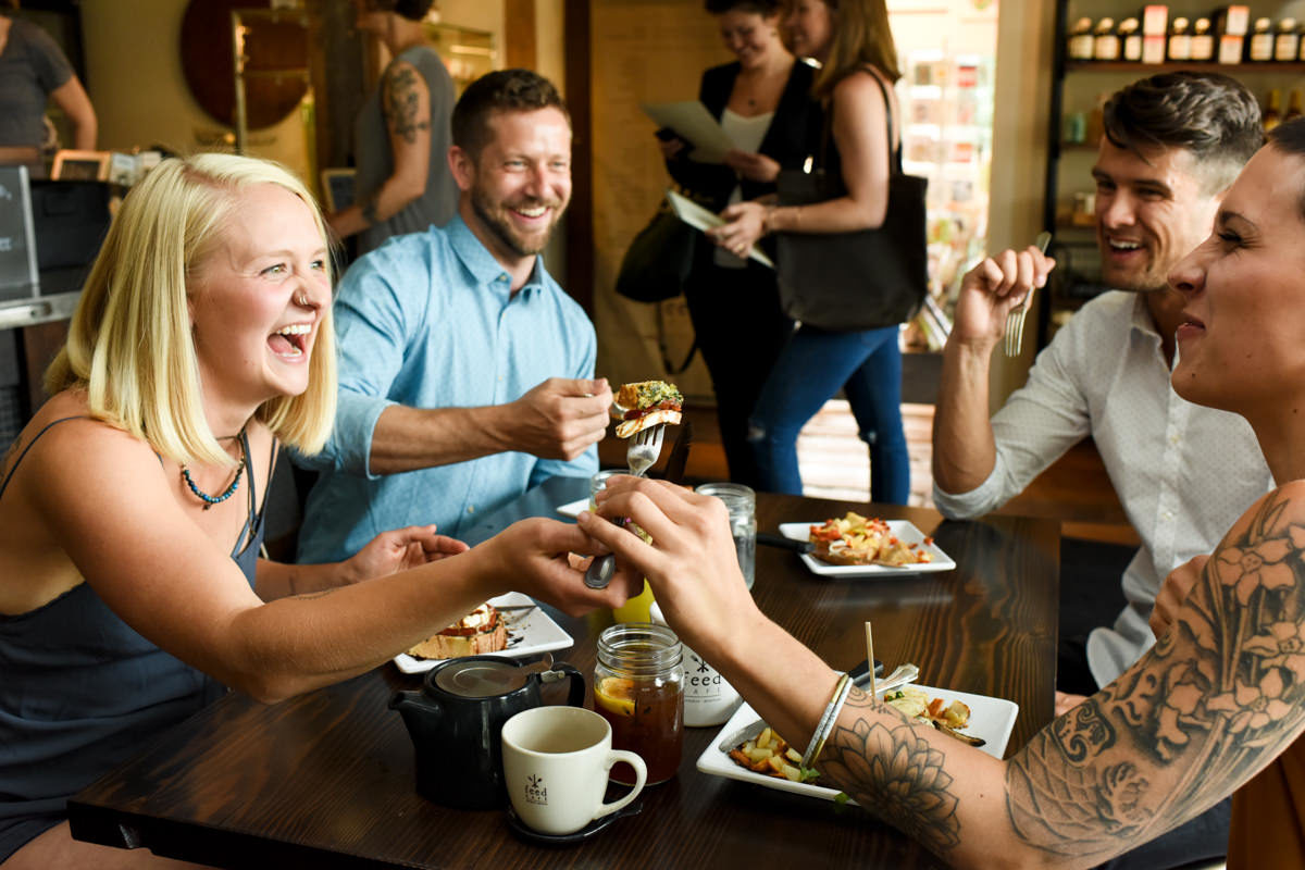 Feed Cafe Food Share Laughing Couples