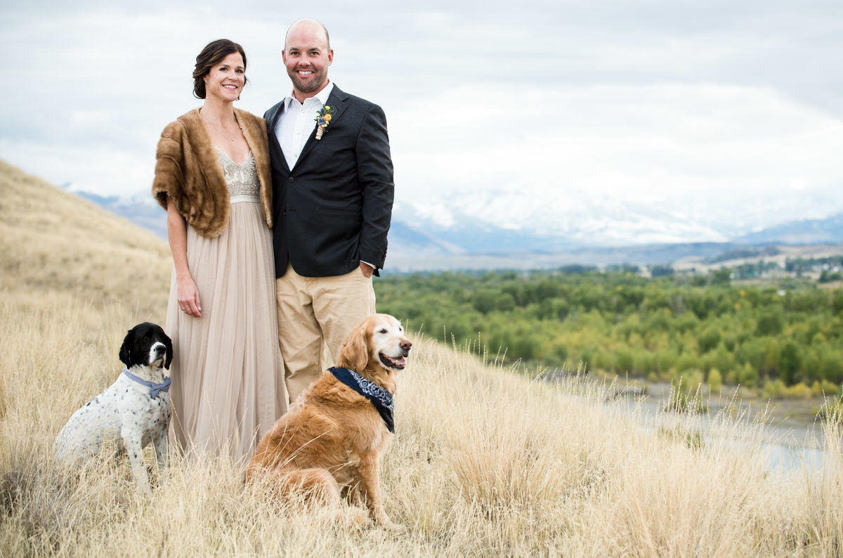 Yellowstone River wedding couple portrait dogs