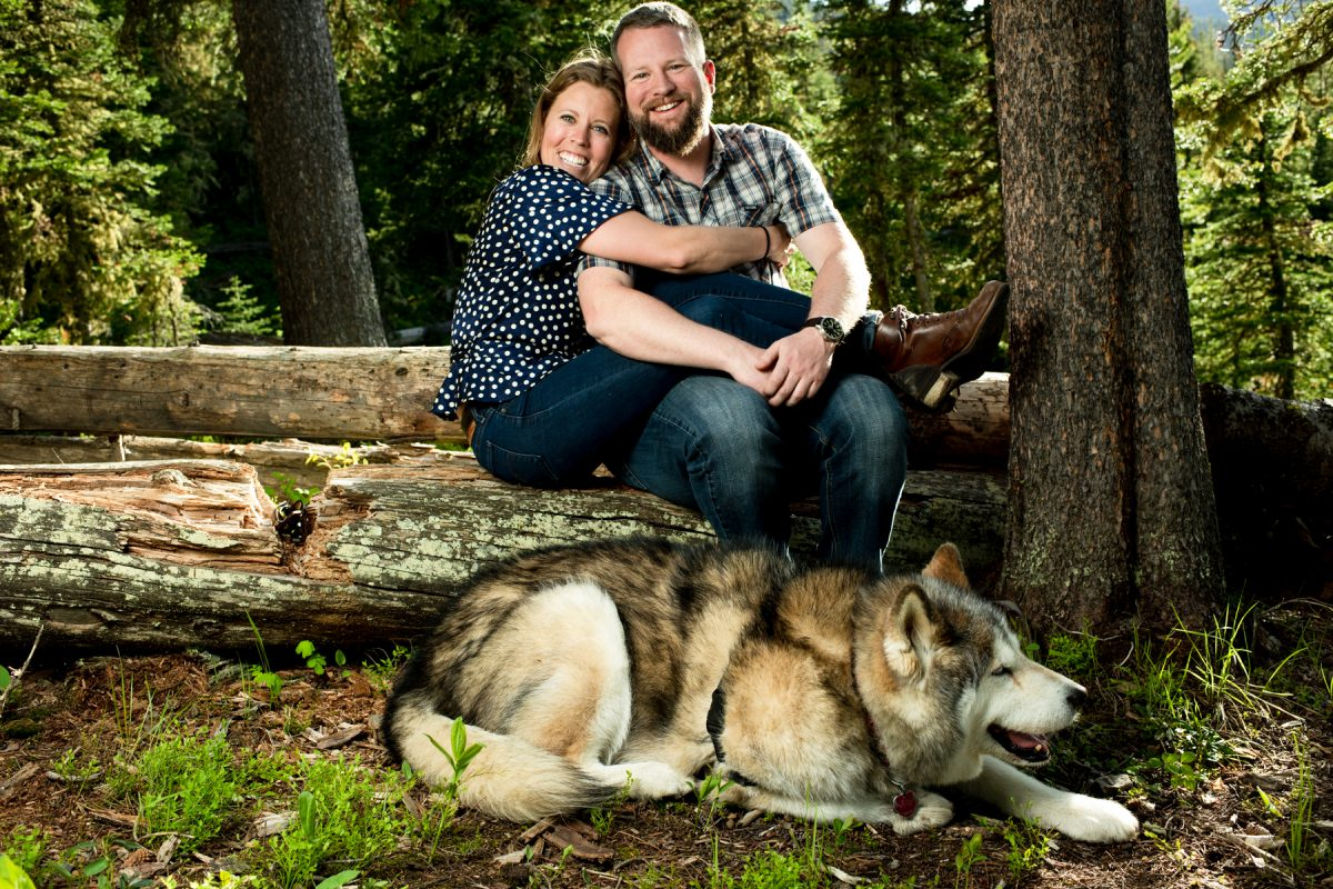 Bozeman Engagement Photographer Hyalite Canyon couple with dog