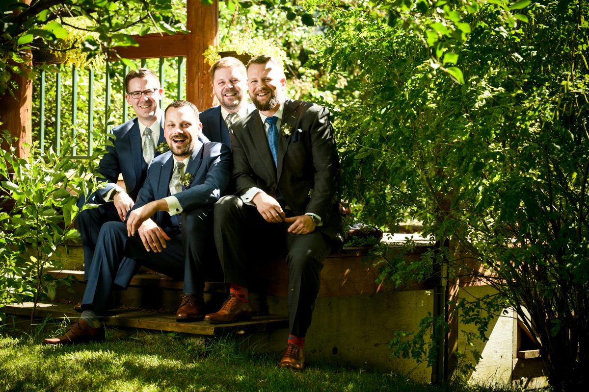 Bozeman Wedding Photographer Springhill Pavilion groomsmen portrait