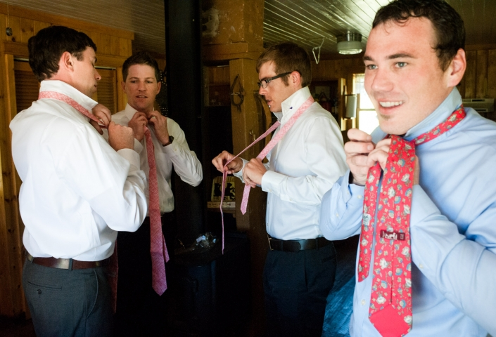 Montana Wedding Photographer Abbott Valley Homestead groomsmen tying ties
