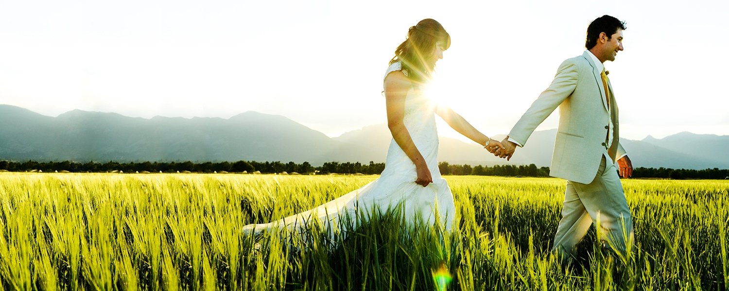 Montana Wedding Photography couple sunset walk