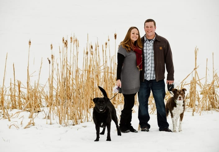 Bozeman Pet Photography dogs couple portrait snow
