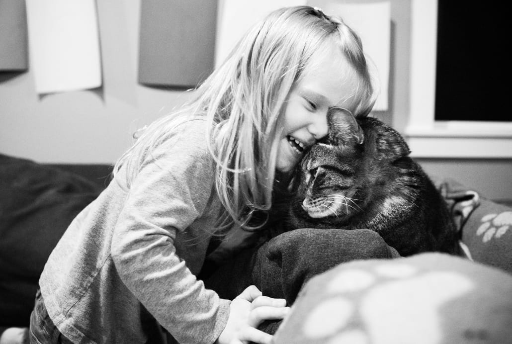 Montana Pet Photography little girl with cat