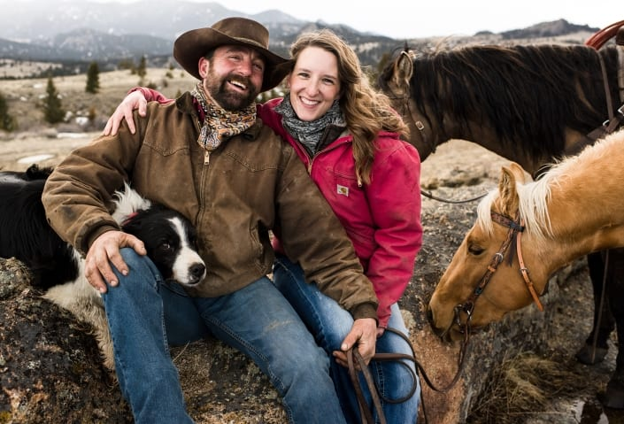 Bozeman Portrait Photography Engagement Horses dogs Norris