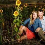 Bozeman Portrait Photography Engagement Couple Sunflowers Madison River