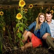 Bozeman Portrait Photography Engagement Couple Sunflowers Madison River