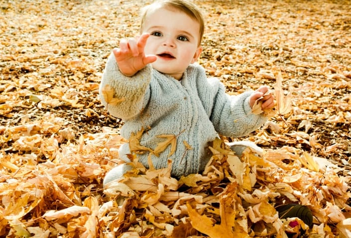 Bozeman Portrait Photography Baby Play in Leaves