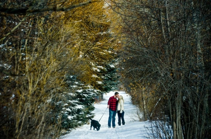 Bozeman Portrait Photography Engagement Couple Bozeman Trail with dog