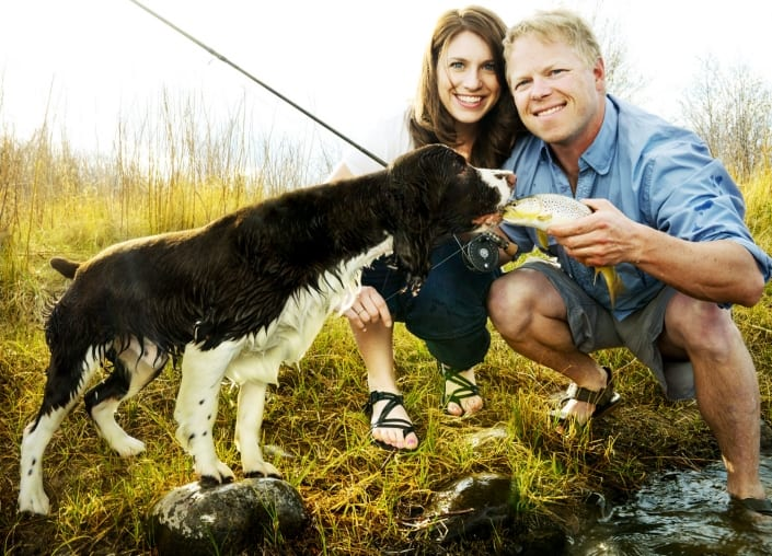 Bozeman Portrait Photography Madison River couple with dog and trout