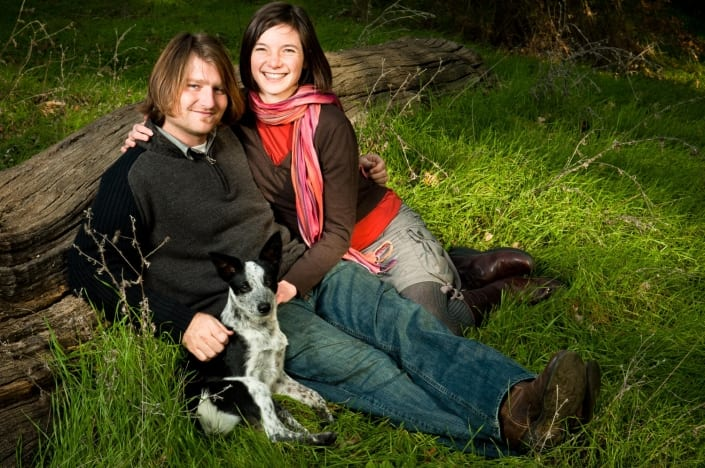 Montana Portrait Photography couple with pet on grass