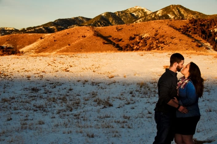 Bozeman Portrait Photography sunset engagement couple