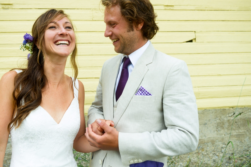 Montana Wedding Photographer Springhill Pavilion bride and groom laughing