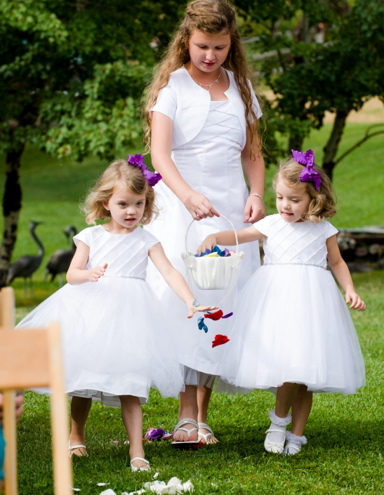 Montana Wedding Photographer Springhill Pavilion ceremony flowergirls