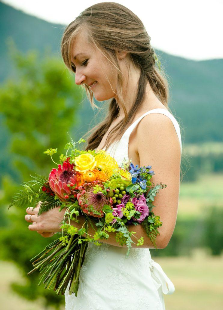 Montana Wedding Photographer Springhill Pavilion wedding ceremony flowers