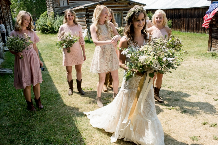 Montana Wedding Photographer Virginia City wedding bridesmaids