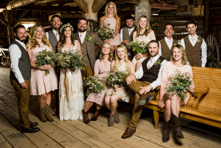 Montana Wedding Photographer Virginia City wedding party portrait