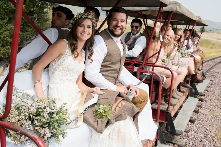 Montana Wedding Photographer Virginia City bridal party train ride