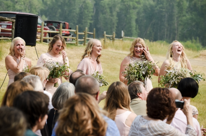 Montana Wedding Photographer Virginia City bridal party cry