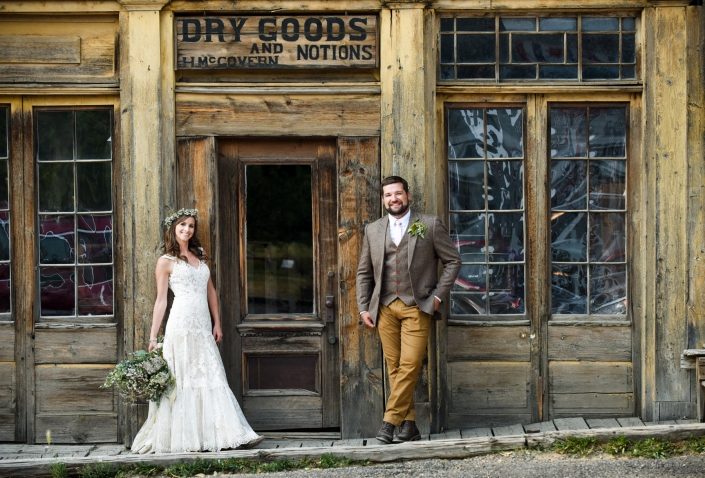 Montana Wedding Photographer Virginia City dry goods wedding portrait