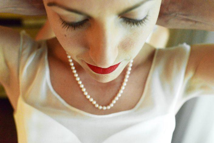 Montana Wedding Photographer Davis California bride with pearls