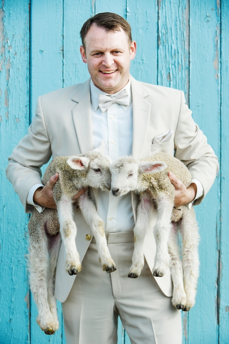 Montana Wedding Photography Gallatin Valley Botanical Groom with lambs