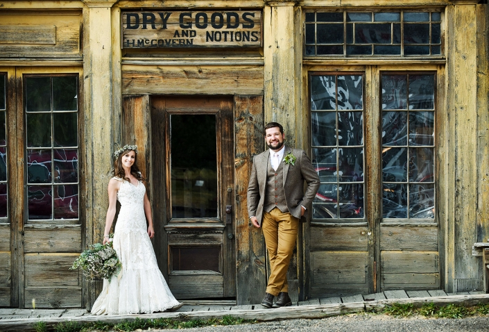 Bozeman Wedding Photographer Virginia City bride and groom portrait