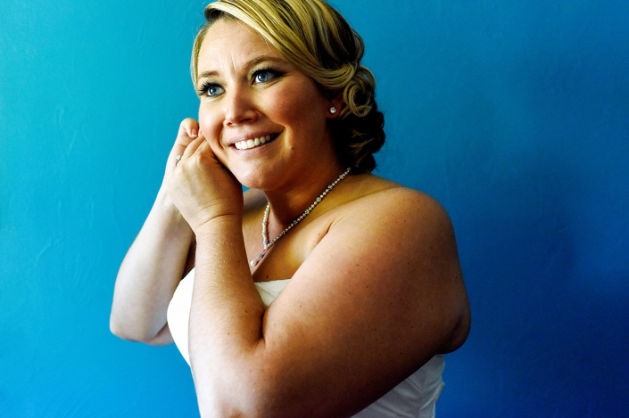Montana Wedding Photography blue bride earrings