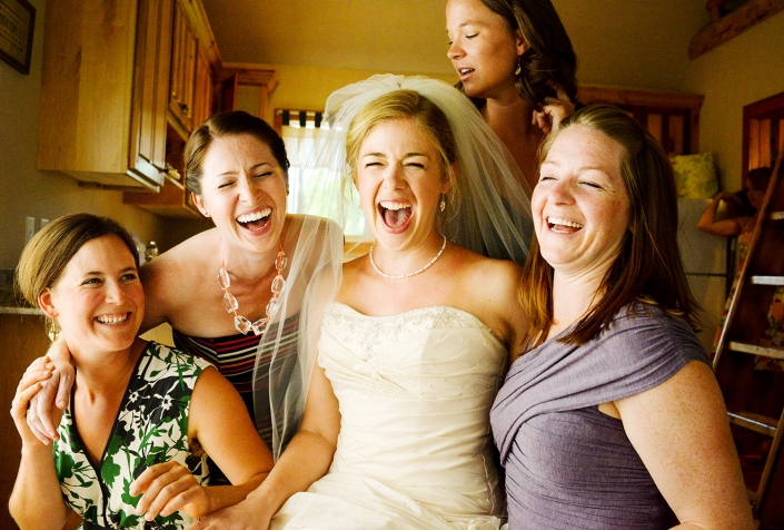 Bozeman Wedding Photographer bride with laughing friends