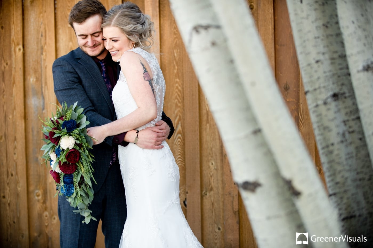First Look Gallatin River Lodge Winter Wedding