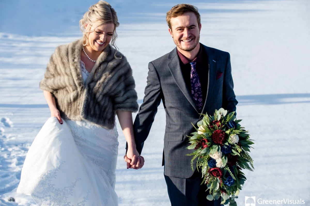 Winter Wedding Couple Portrait Gallatin River Lodge