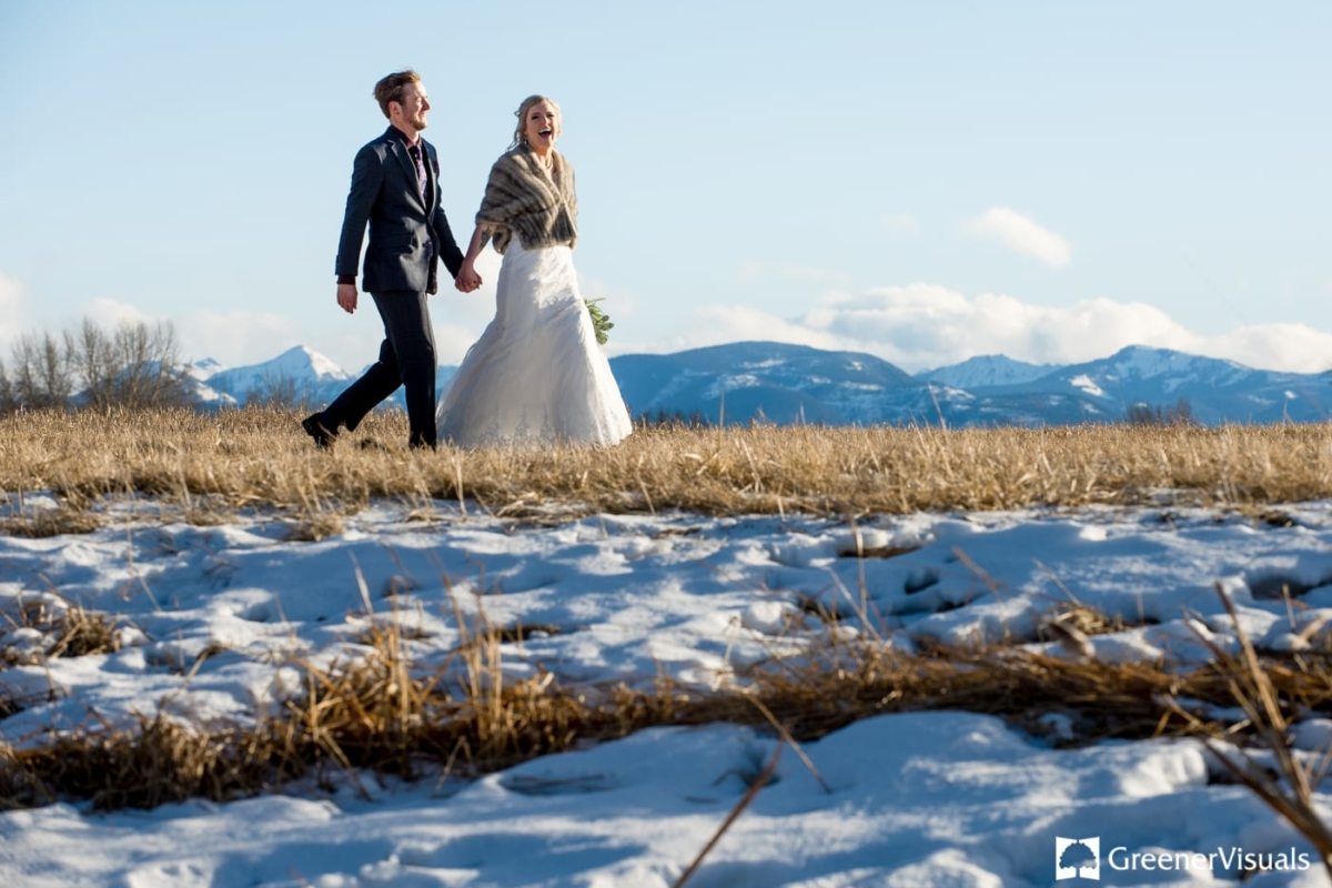 Bride Groom Gallatin River Lodge Winter Wedding