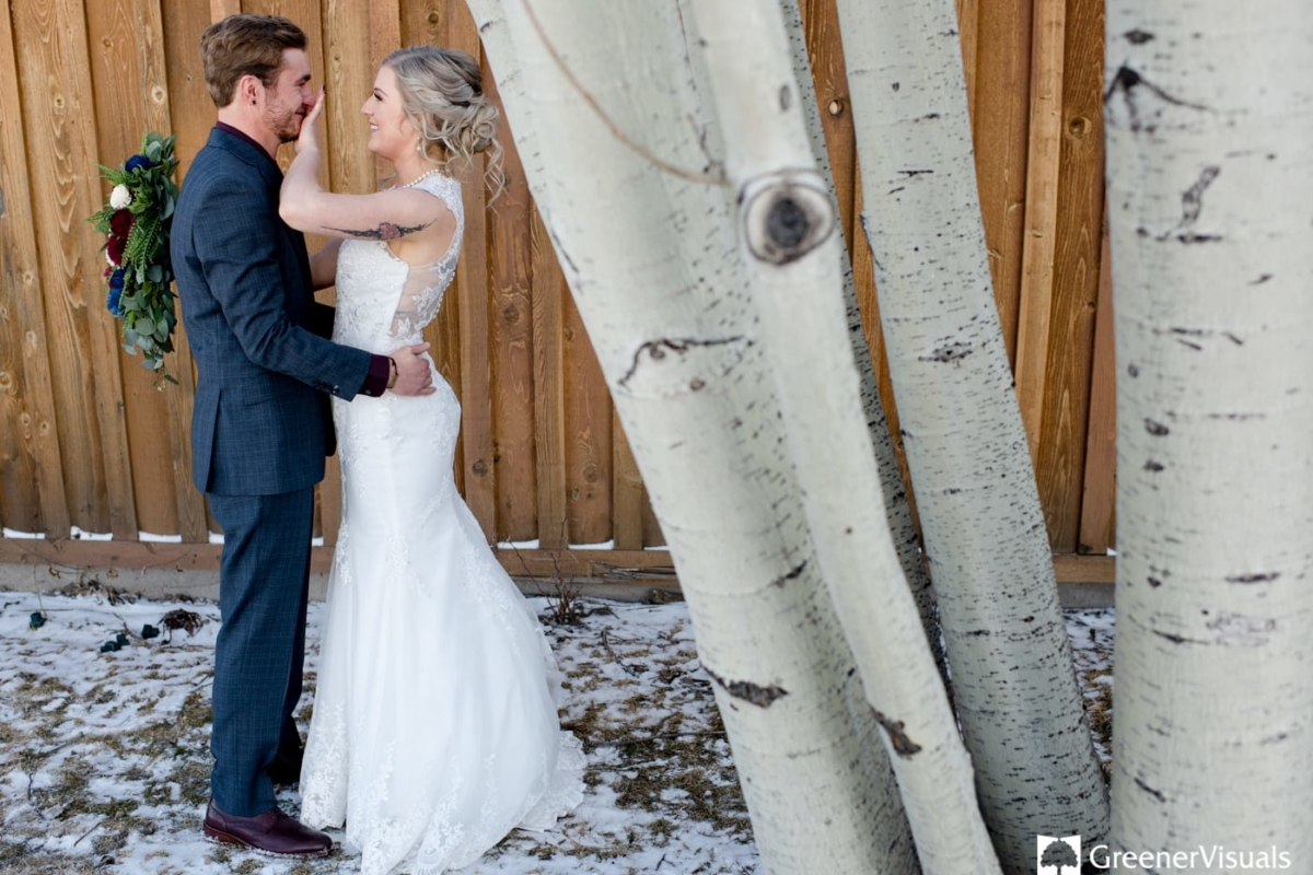 First Look Tears Gallatin River Lodge Winter Wedding